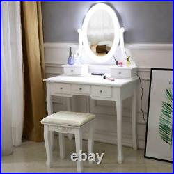 White Makeup Vanity Table Set with10 Lights Mirror and 5 Drawers Dressing Desk