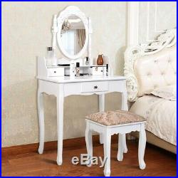 White Vanity Makeup Dressing Table with Rotating Mirror + 3 Drawers Makeup Table