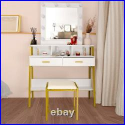 White Vanity Makeup Table 1 Mirror 2 Drawers With 10 LED Lights Dressing Desk