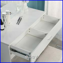 White Vanity Set With Lighted Mirror Cushioned Stool Dressing Table Makeup Table