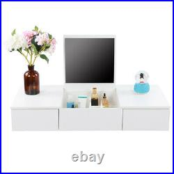 White Wall Mounted Vanity Dressing Table with Mirror 2 Drawers Makeup Desk Bedroom