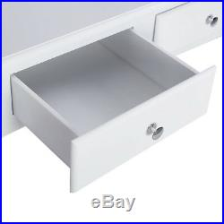 White Wood Vanity Comestic Makeup Dressing Table Desk with 4 Drawers Furniture