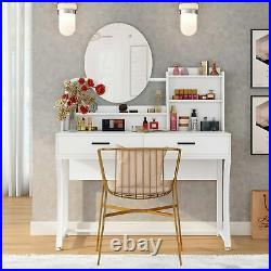 Women Makeup Dressing Table Vanity Set with Lighted Mirror 2 Drawers and Shelves