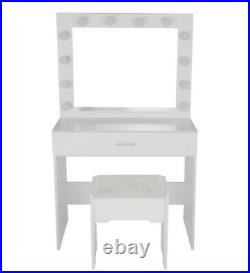 Wood Makeup Vanity Dressing Table Set with 12 LED Lighted Mirror Drawer White