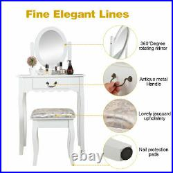 Wooden Classic Vanity Table withOval Mirror Cushioned Stool Makeup Dressing Table